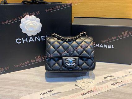 Chanel 黑羊皮 銀鍊 coco 17公分 A35200