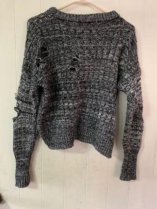 短版針織 割破設計毛衣
