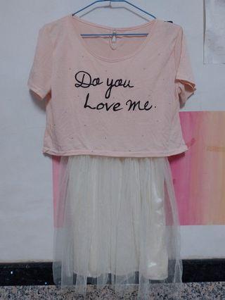 粉色假兩件洋裝