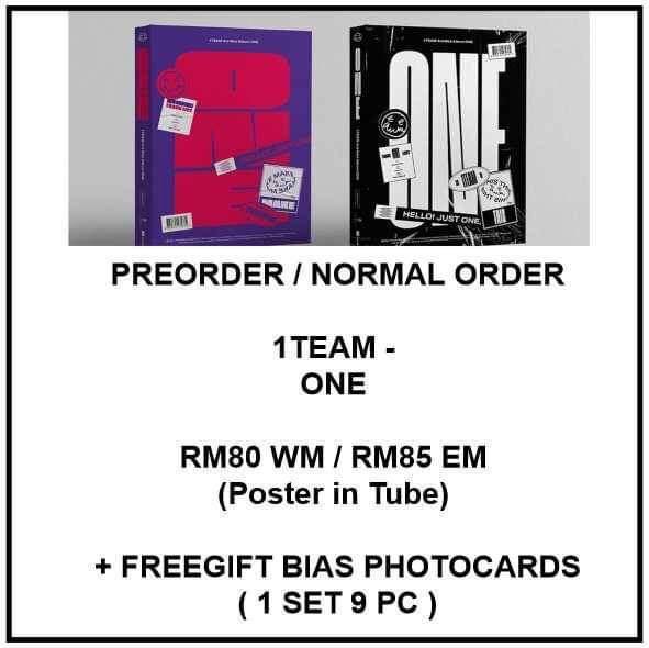 1TEAM - ONE  - PREORDER/NORMAL ORDER/GROUP ORDER/ALBUM GO + FREE GIFT BIAS PHOTOCARDS (1 ALBUM GET 1 SET PC, 1 SET GET 9 PC)