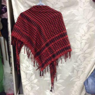 復古紅格紋流蘇圍巾