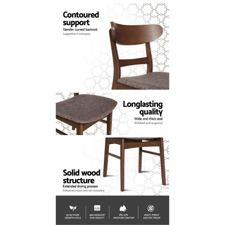 2x Artiss Dining Chairs Kitchen Chair Rubber Wood Retro Cafe Brown Fabric Padded