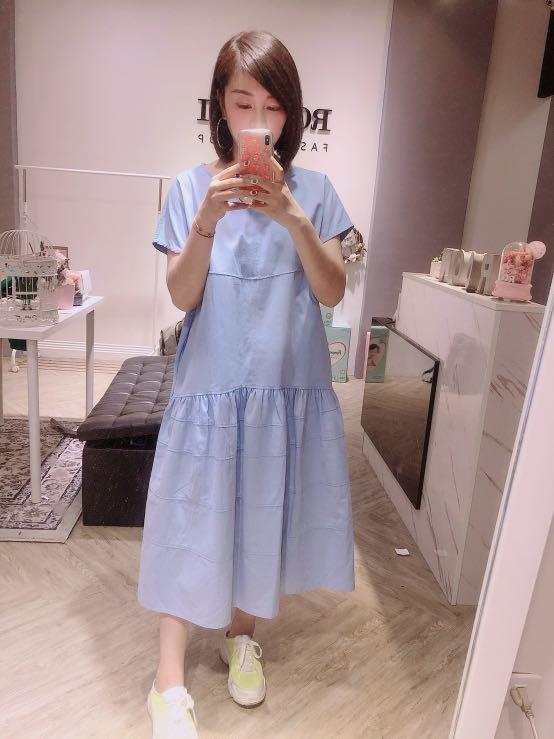 正韓 韓國帶回 藍色 長版 洋裝 清新
