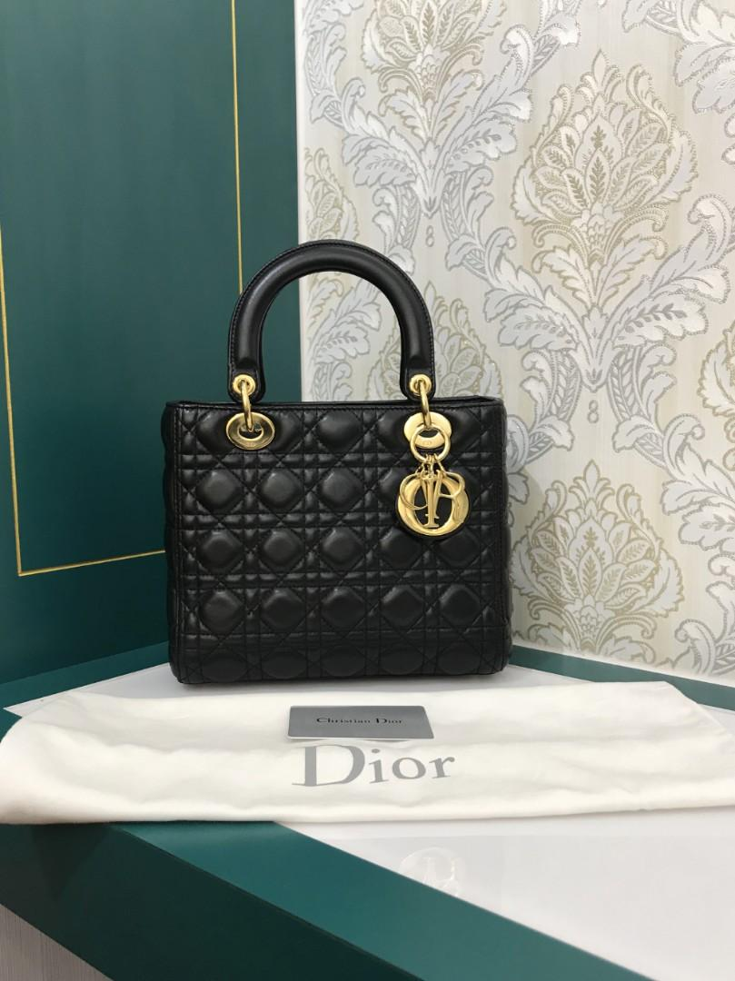 Almost New Lady Dior Medium Black Lamb with GHW