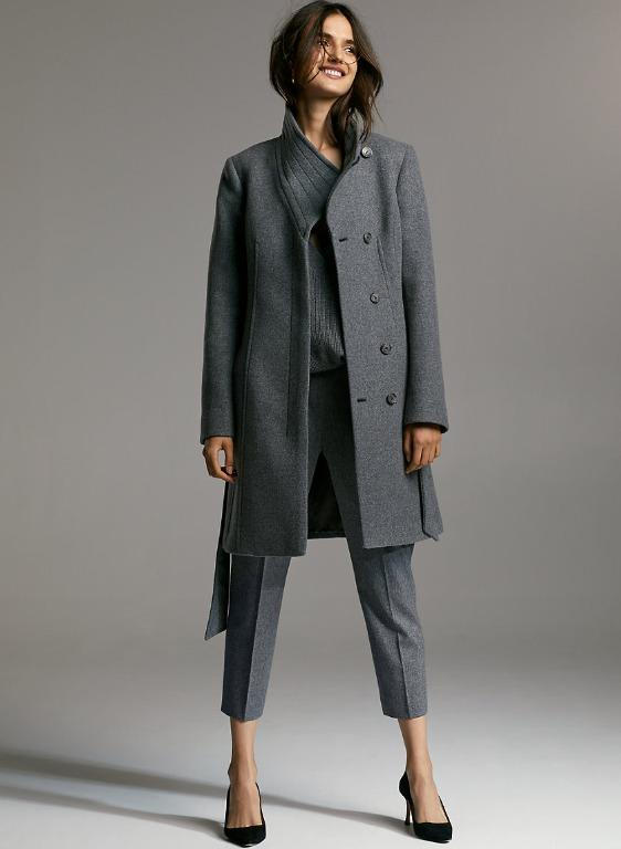 Aritzia Babaton Connor Heather Dark Grey Wool Coat
