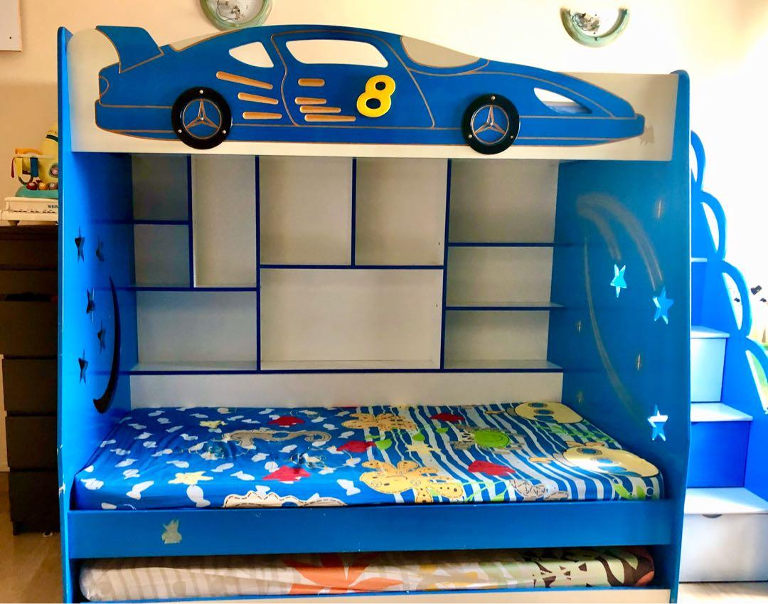 Picture of: Children Race Car Bunk Bed Final Price Reduction Furniture Beds Mattresses On Carousell