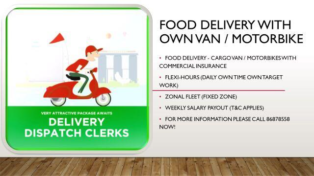 Food Delivery with Own Van/Motorbike/PMDs/Bicycle