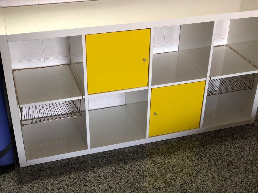 Ikea Kallax Shelving Unit High Gloss White 4 2 Furniture Shelves Drawers On Carousell