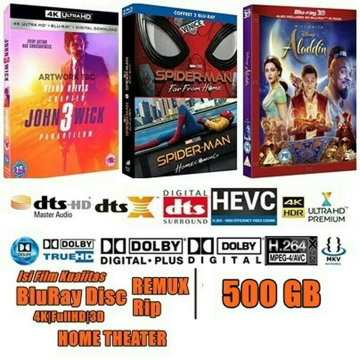 Isi film HD 500GB kualitas BluRay Disc REMUX,  Rip,  WEBRip