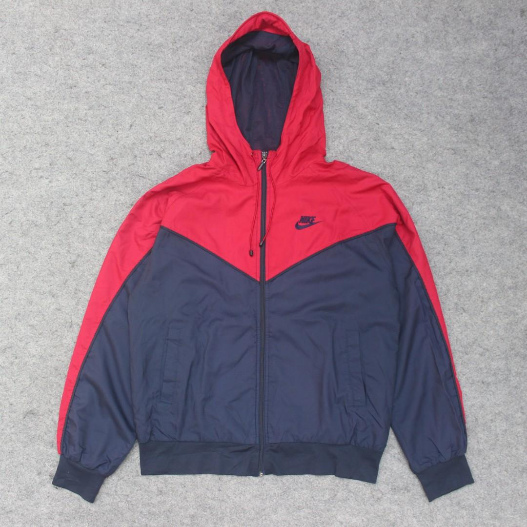 Jaket Parasut Nike Dark Red Navy Second Original Murah