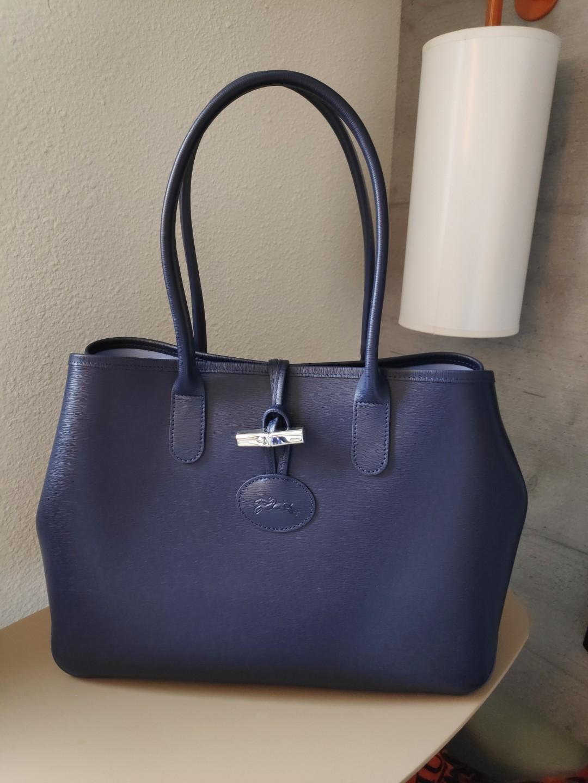 Longchamp navy blue leather roseau shoulder bag