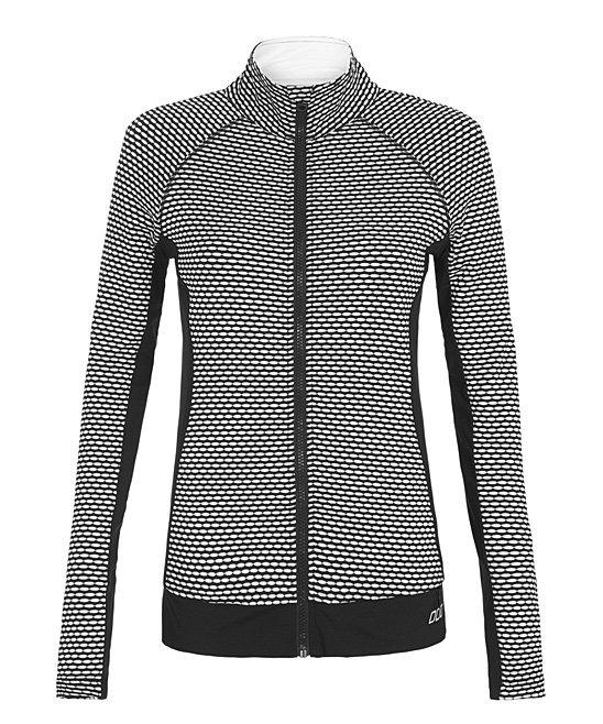Lorna Jane Black/White Spot Me Excel Zip Jacket Size XS LJ Black