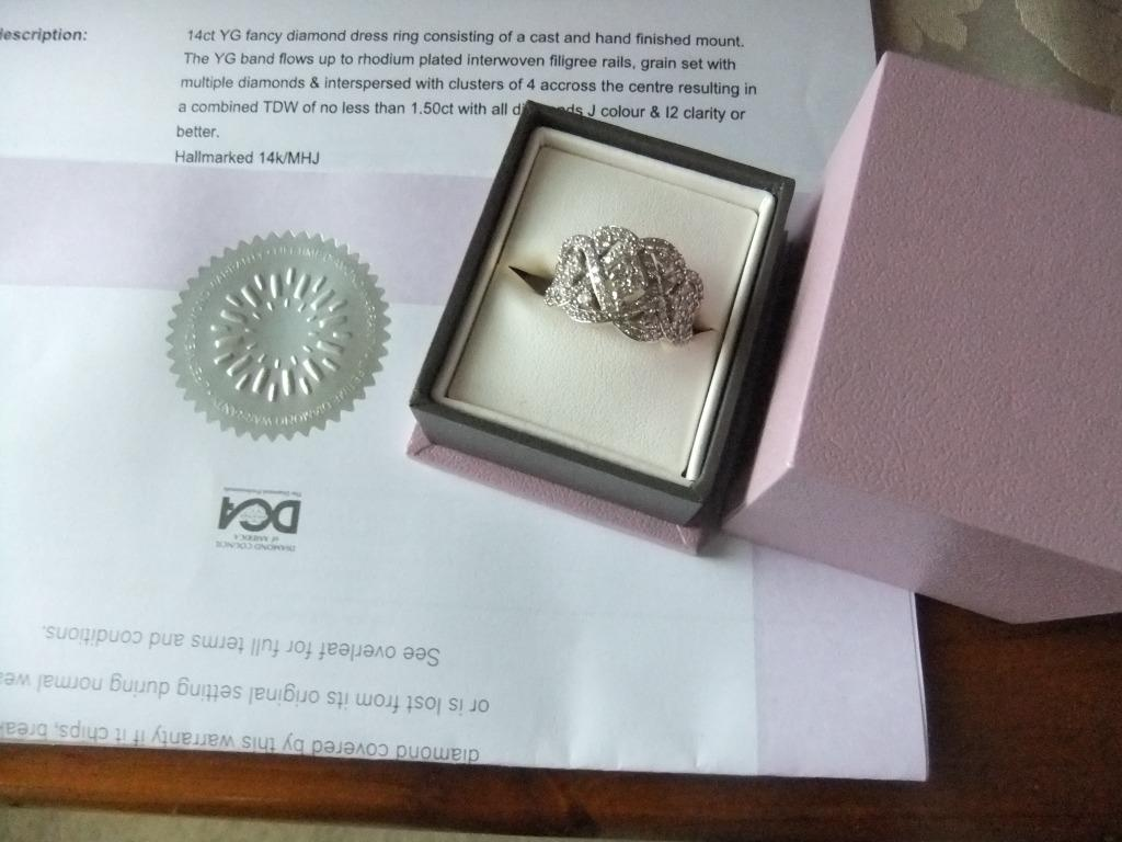 MICHAEL HILL 14ct FANCY DIAMOND DRESS RING 1.50CT RHODIUM PLATED FACE NEW BOXED ENGAGEMENT WEDDING