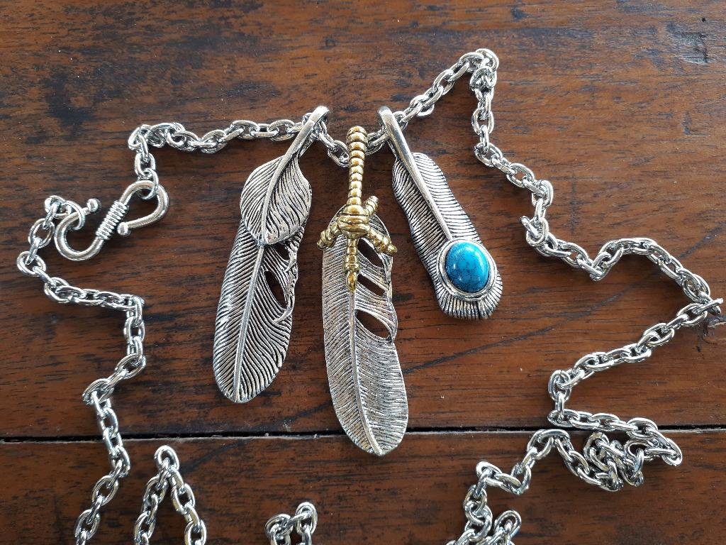 Native American Eagle Shield Feather Claw Blue Stone Pendant Chain Necklace