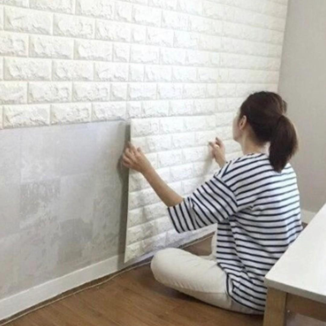NEW Foam Wall Stickers 3D Wallpaper Adhesive Brick 60x30cm