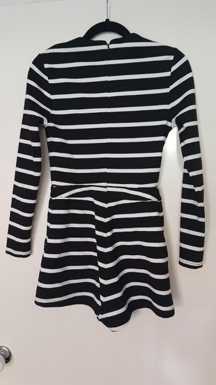 NWOT Isla Black/White Stripe Romper Size S Long Sleeves, Pockets, V Neck RRP$100