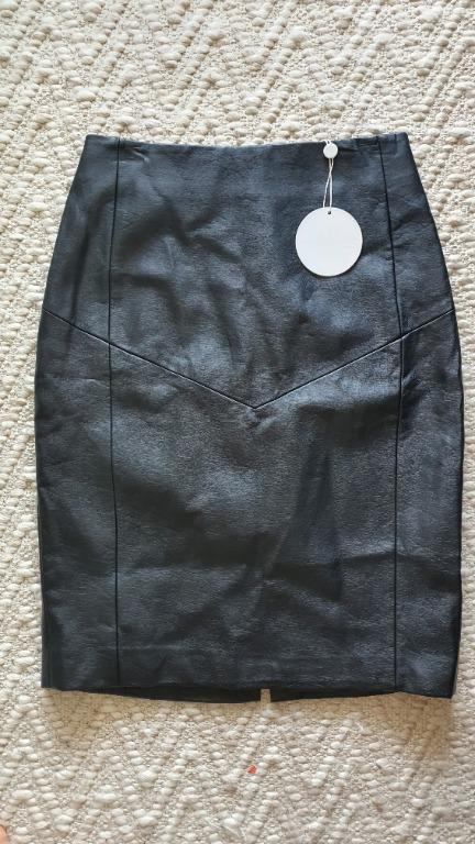 NWT Finders Keepers Black Vegan Leather Midi Skirt Size S RRP $110