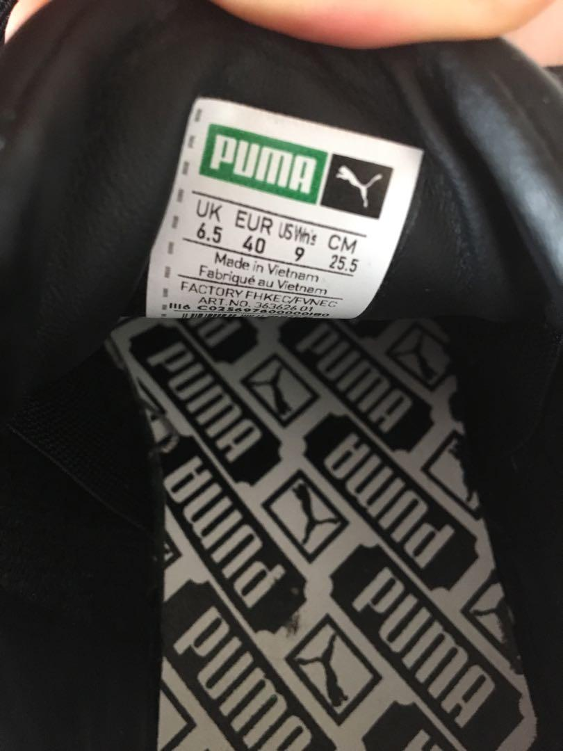 Puma black basket trainer with silver logos size 40