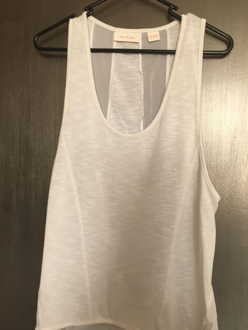 Sass and bide white cotton singlet with panels size s