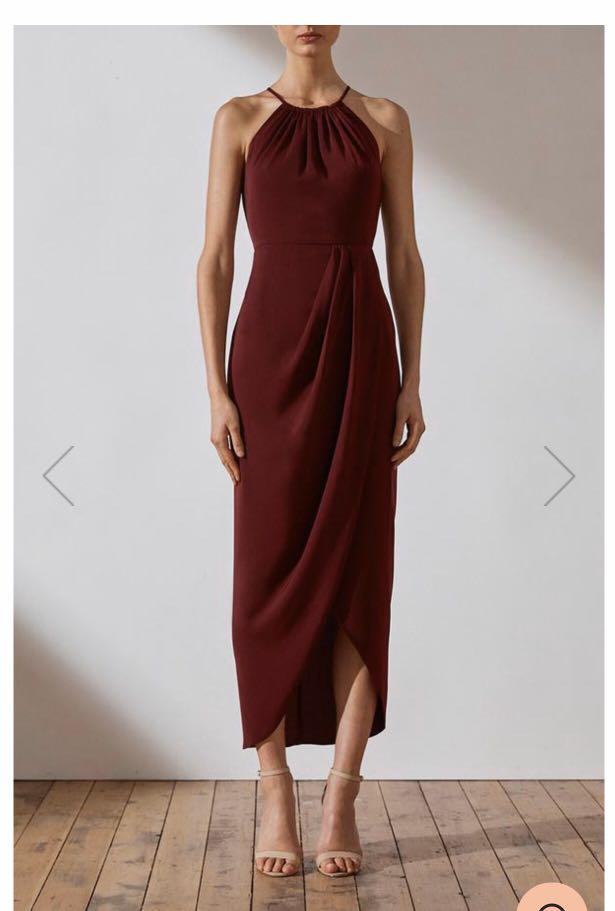 Shona Joy - Core high necked ruched dress - burgandy