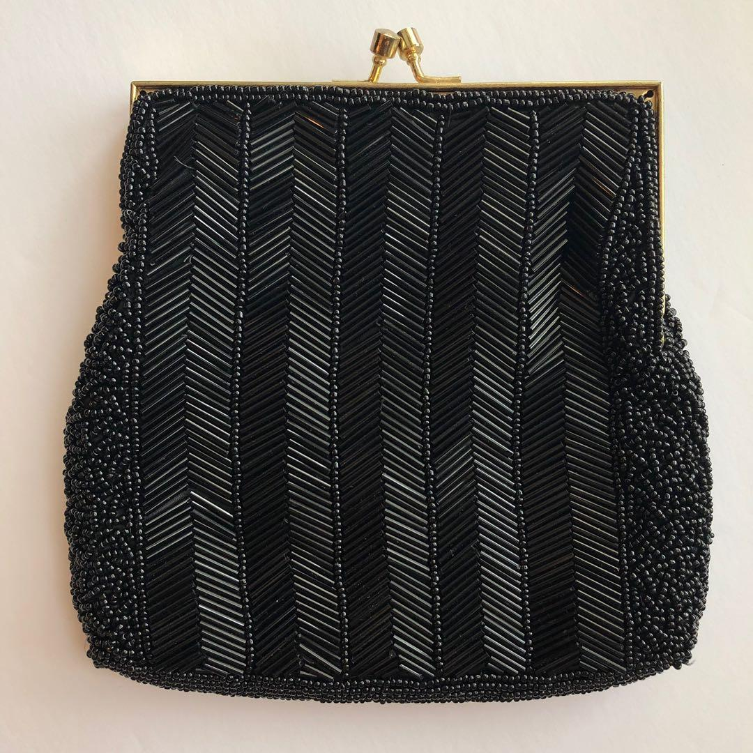 Vintage Black Beaded Evening Bag
