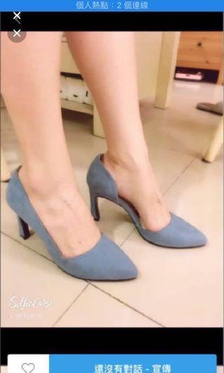 Wstyle 推薦 韓風麂皮時尚高跟鞋-優雅粉藍 (25號)