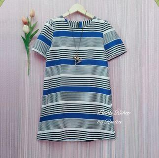 NEW Import Mini Dress Atasan Tunik Blaster Hitam Biru Putih