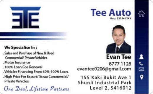 Buy & sell commercial/Pte cars,able to get high loan & competitive insurances quote.