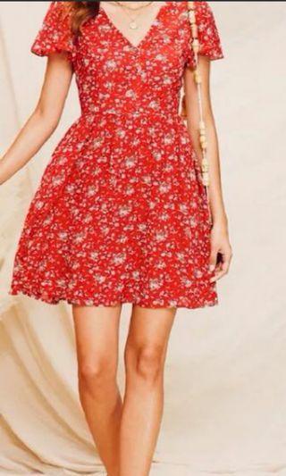 歐美風小碎花洋裝
