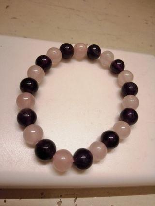 粉紫水晶手珠