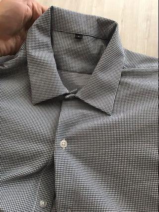 Muji 無印 聚脂纖維彈性泡泡紗方型剪裁襯衫