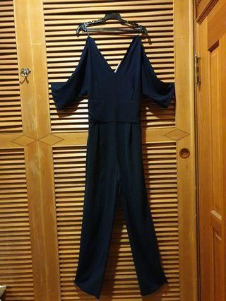 9.5成新MANGO 深藍色連身長褲