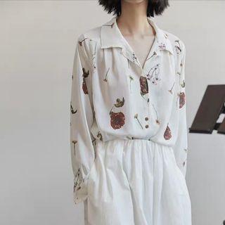 白色雪紡長袖襯衫