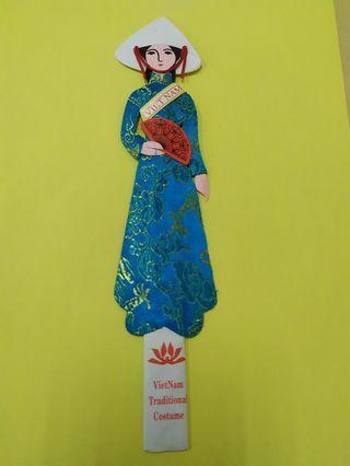 Vietnam Traditional Ao Dai Bookmark (Handmade)