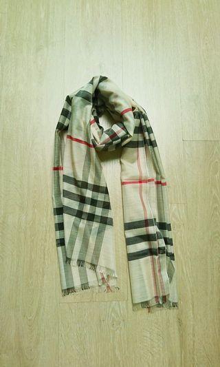 經典格紋大絲巾/圍巾 米色 全新