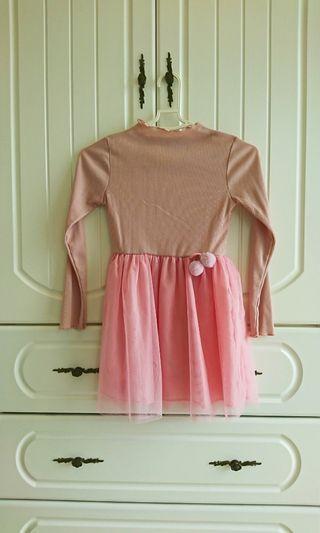 近全新女童粉色洋裝