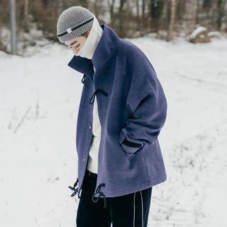 【 Gshop.】冬季立領牛角扣毛呢大衣男士外套