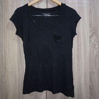 (S-M) Calvin Klein Jeans black studded neck line top, nice fabric, super nice in actual and almost looks new