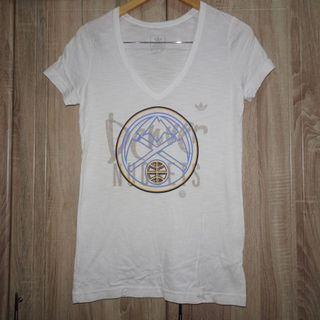 (L) Adidas women's v-neck tee, nice glittered print design, super nice in actual and almost looks new