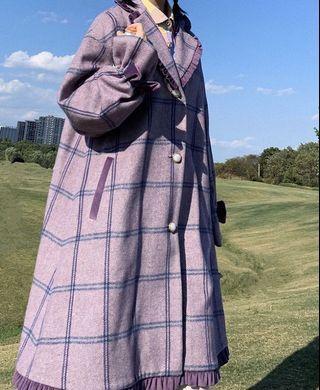《冬季 新款》日系毛呢超美紫格紋大衣
