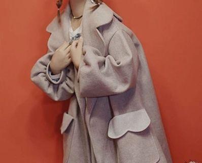 《冬季 新款》復古燈籠袖香芋紫毛呢大衣
