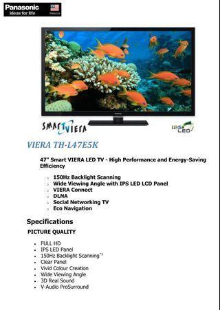 "VIERA TH-L47E5K 47"" Smart VIERA LED TV - High Performance and Energy-Saving Efficiency"