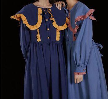 《冬季 新款》日系閨蜜款復古大披肩洋裝