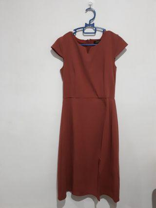 Brick color work dress