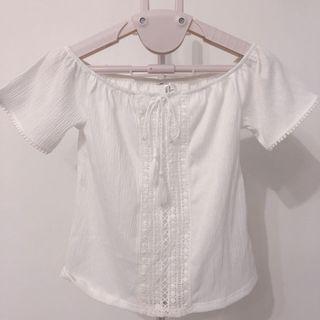 僅穿一次 H&M)刺繡白色一字領