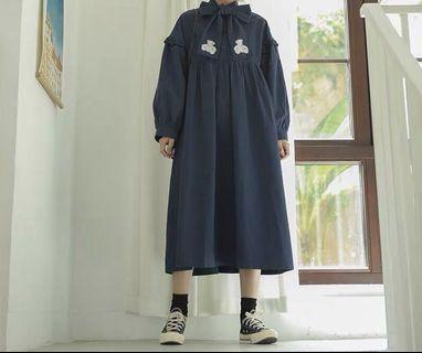 《冬季 新品》超萌復古小熊蝴蝶結洋裝