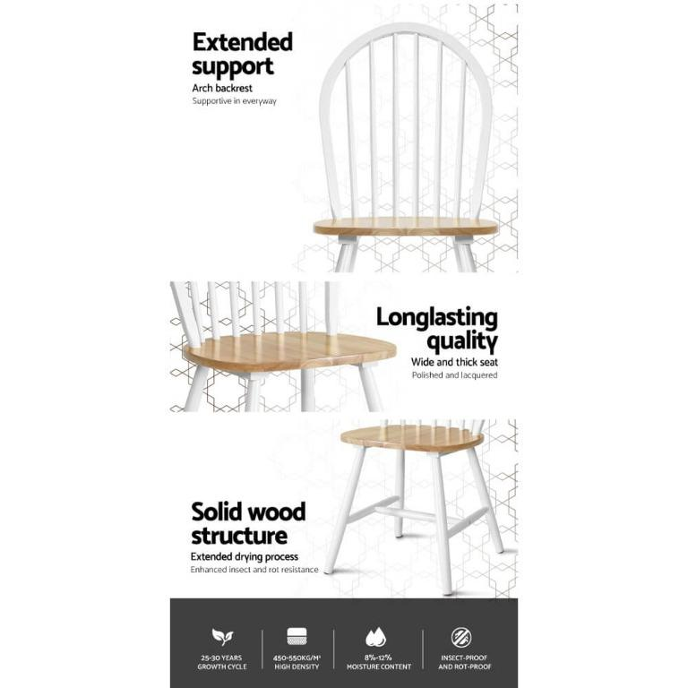 2x Artiss Dining Chairs Kitchen Chair Rubber Wood Retro Cafe White Wooden Seat