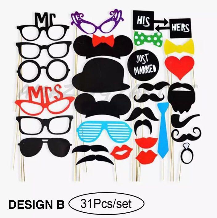 31 pc Wedding Photo Booth Props