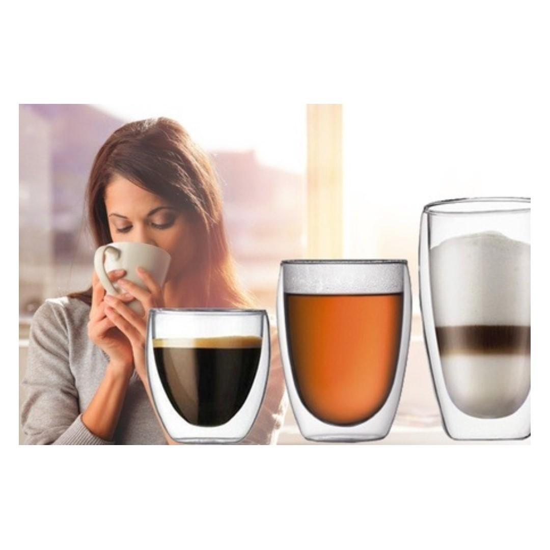 350ml Borosilicate Double Wall Glass cup