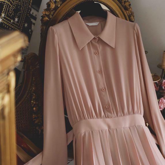 〔99%新〕韓國Milkcocoa同款 初秋 百褶中長仙氣連身裙